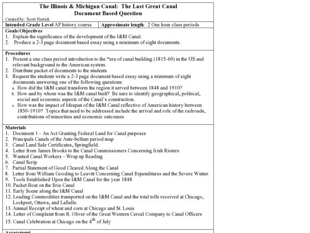 The Illinois & Michigan Canal: The Last Great Canal Lesson Plan