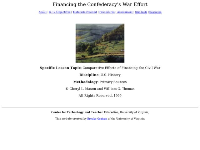 Comparative Effects of Financing the Civil War Lesson Plan