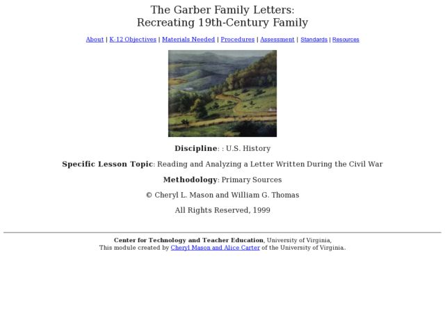The Garber Family Letters: Recreating 19th-Century Family Lesson Plan