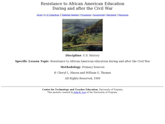 Resistance to African American Education During and After the Civil War Lesson Plan