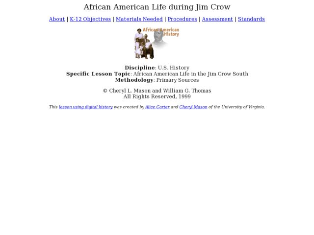 African American Life during Jim Crow Lesson Plan