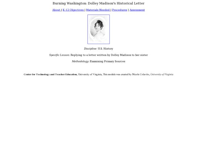 Burning Washington: Dolley Madison's Historical Letter Lesson Plan