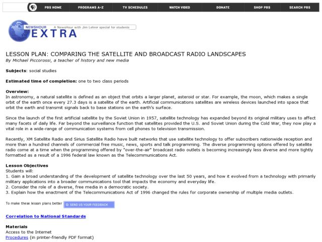 Comparing the Satellite and Broadcast Radio Landscapes Lesson Plan