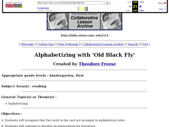 Alphabetizing with Old Black Fly Lesson Plan