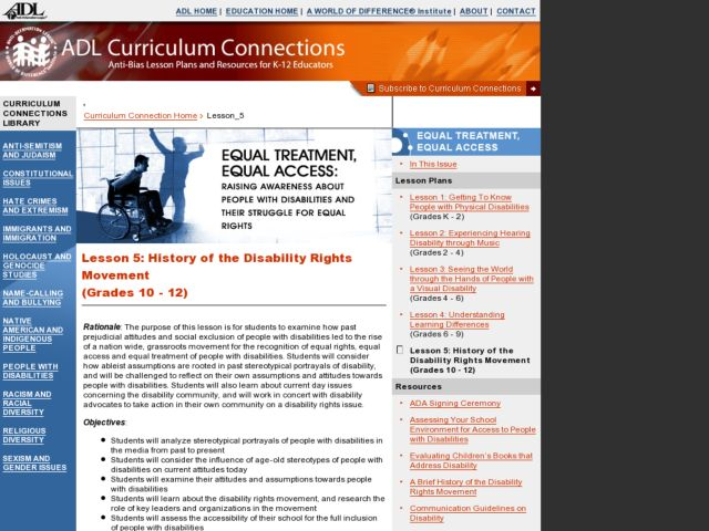 History of the Disability Rights Movement Lesson Plan