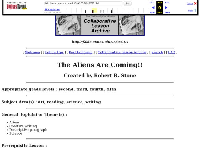 The Aliens are Coming! Lesson Plan