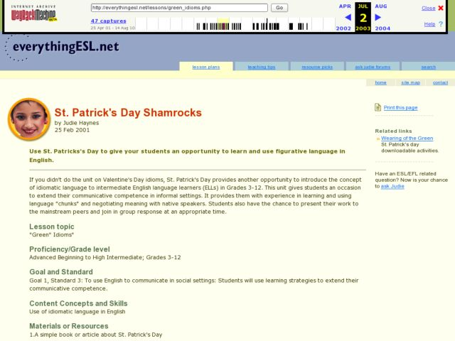 St. Patrick's Day Shamrocks Lesson Plan