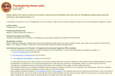 Thanksgiving Lesson Plan Lesson Plan