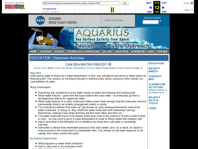 Sea Water Freeze Lesson Plan