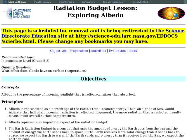 Radiation Budget Lesson: Exploring Albedo Lesson Plan