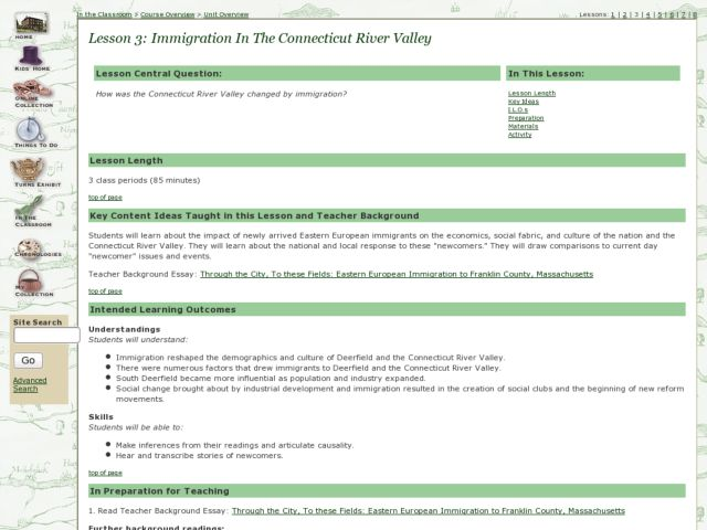 Immigration in the Connecticut River Valley Lesson Plan
