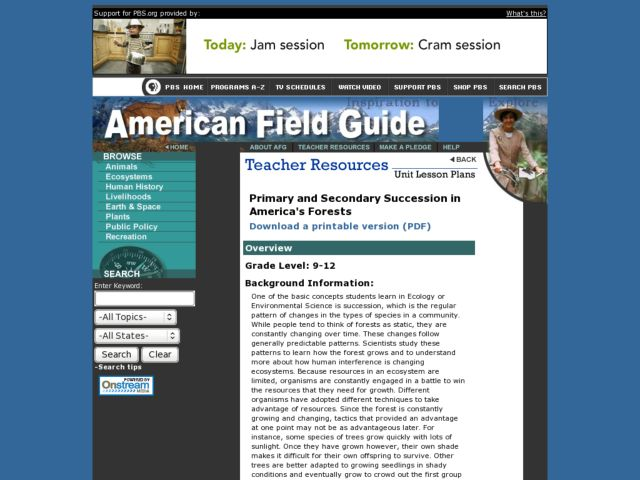 PRIMARY AND SECONDARY SUCCESSION IN AMERICA'S FORESTS Lesson Plan