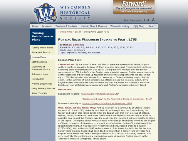 Pontiac Urges Wisconsin Indians to Fight, 1763 Lesson Plan
