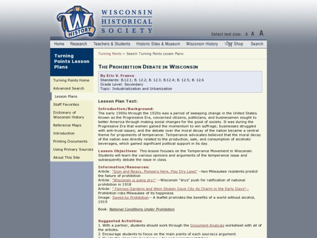 The Prohibition Debate in Wisconsin Lesson Plan