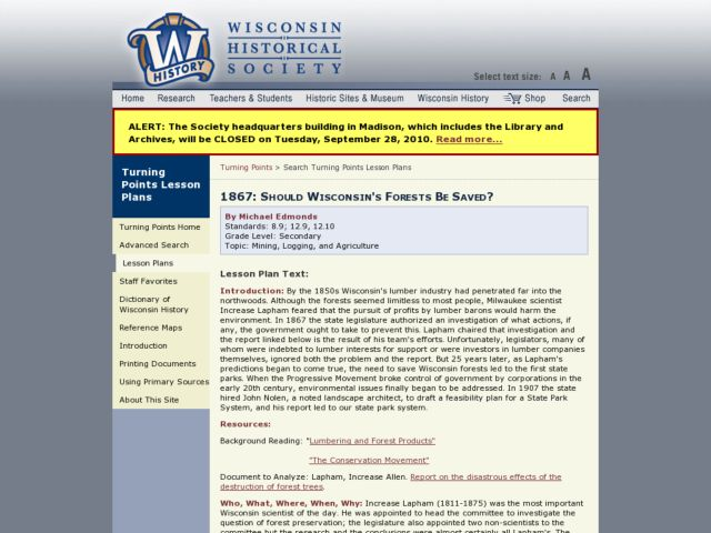 1867: Should Wisconsin's Forests Be Saved? Lesson Plan