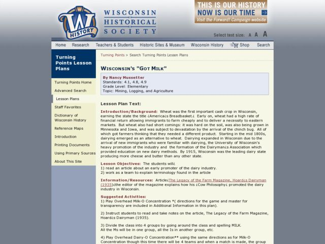 Wisconsin's Got Milk Lesson Plan