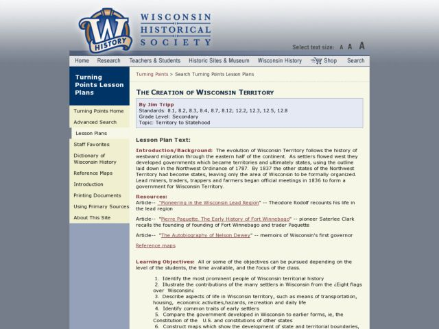 The Creation of Wisconsin Territory Lesson Plan