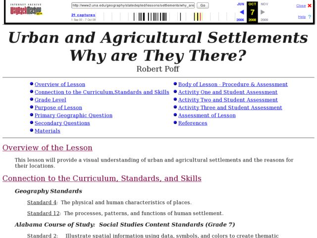 Urban and Agricultural Settlements Why are They There? Lesson Plan