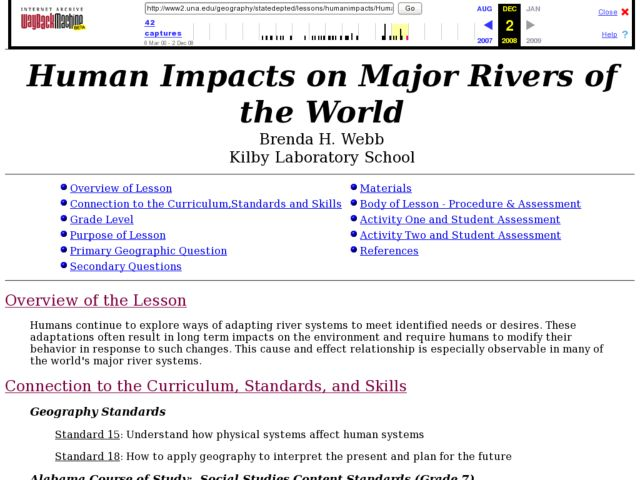 Human Impacts on Major Rivers of the World Lesson Plan