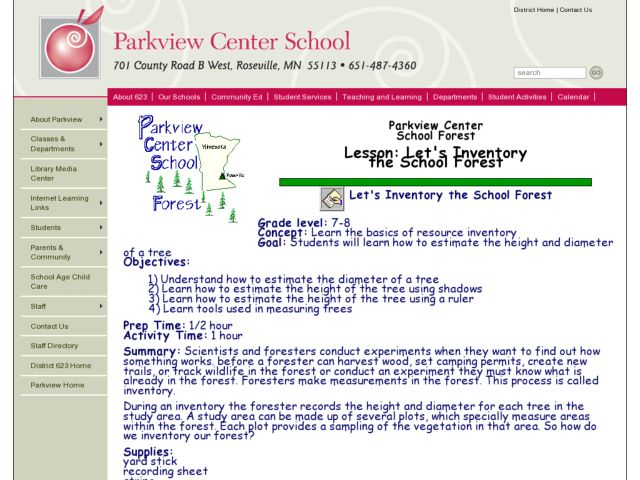 LET'S INVENTORY THE SCHOOL FOREST Lesson Plan