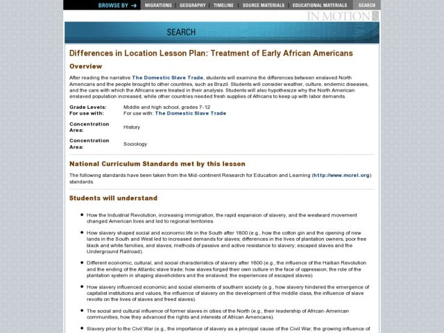 Differences in Location Lesson Plan: Treatment of Early African Americans Lesson Plan