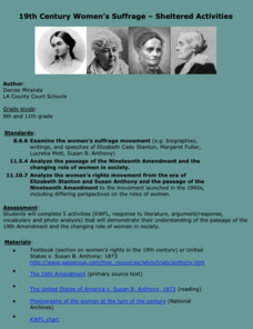 19th Century Women's Suffrage - Sheltered Activities Lesson Plan