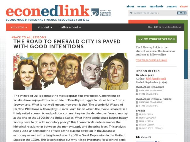 The Road to Emerald City Is Paved with Good Intentions Lesson Plan