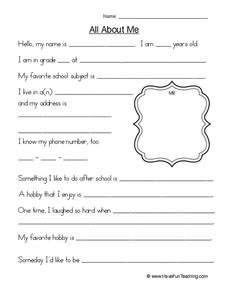All About Me Printables & Template