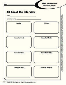 All About Me Interview Worksheet