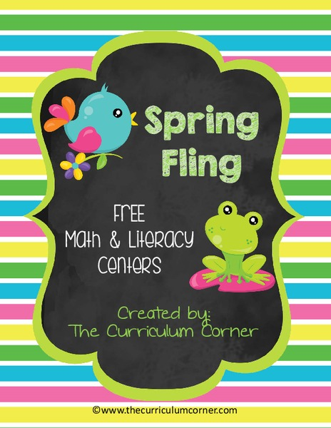 Spring Fling Math and Literacy Centers Printables & Template