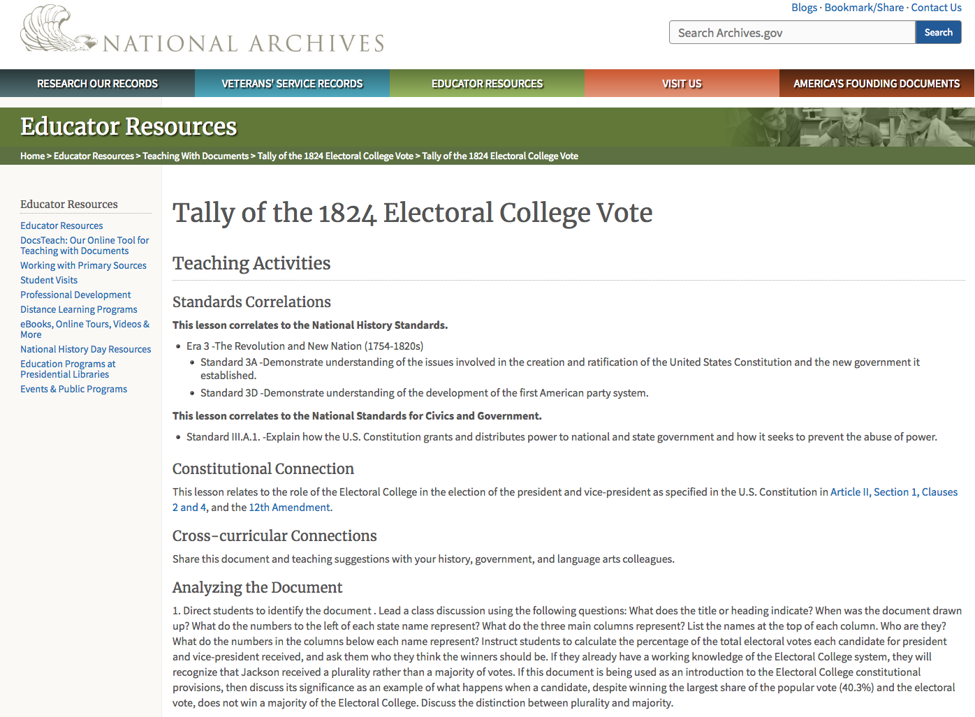 Tally of the 1824 Electoral College Vote Lesson Plan
