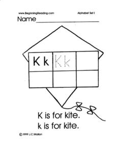 Alphabet Letter K Worksheet