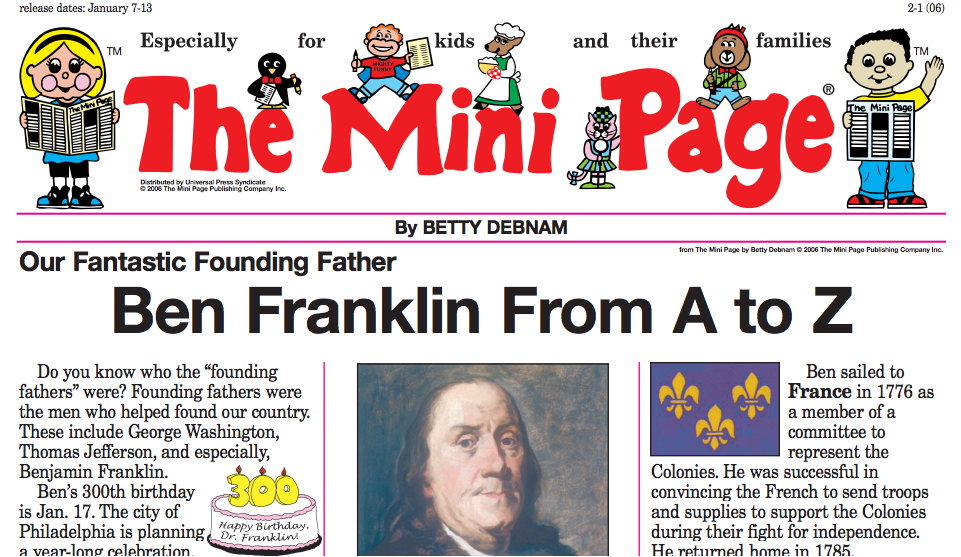 The Mini Page: Ben Franklin from A to Z Handouts & Reference