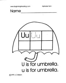 Alphabet Letter U Lesson Plan