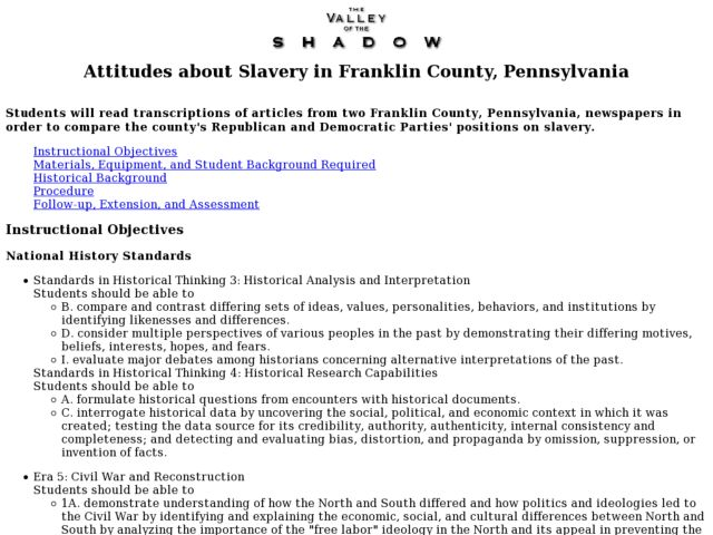 Attitudes About Slavery in Franklin County, Pennsylvania Lesson Plan