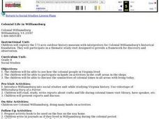 Colonial Life in Williamsburg Lesson Plan