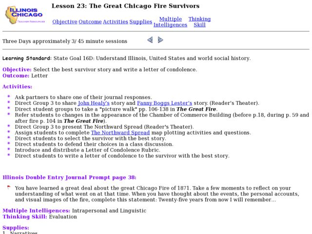 The Great Chicago Fire Survivors Lesson Plan