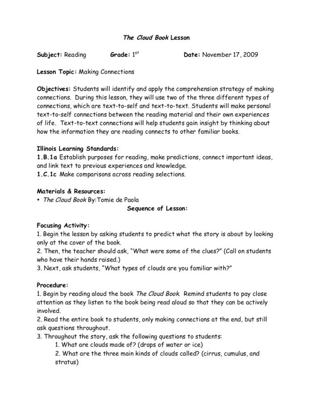 Making Connections Lesson Plan