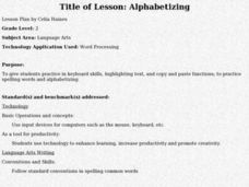 Alphabetizing Lesson Plan