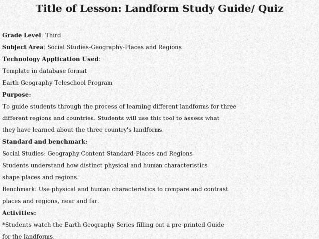 Landform Study Guide/ Quiz Lesson Plan