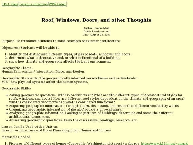 Roof, Windows, Doors, and other Thoughts Lesson Plan