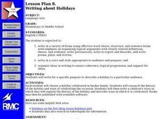 Writing About Holidays Lesson Plan