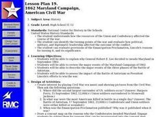 1862 MARYLAND CAMPAIGN, AMERICAN CIVIL WAR Lesson Plan