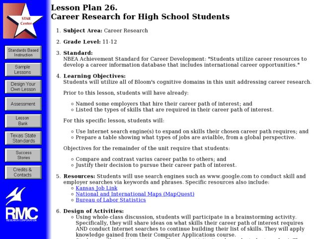 CAREER RESEARCH FOR HIGH SCHOOL STUDENTS Lesson Plan
