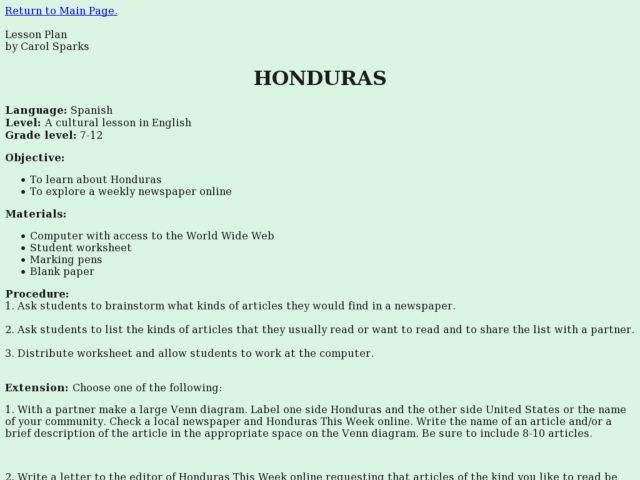 Honduras Lesson Plan
