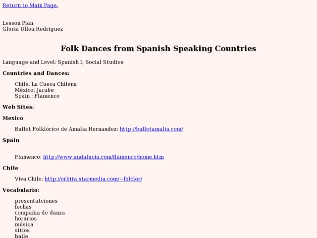 Folk Dances from Spanish Speaking Countries Lesson Plan
