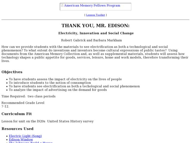 Thank You, Mr. Edison Lesson Plan