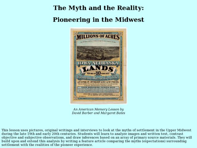 The Myth and the Reality: Pioneering in the Midwest Lesson Plan
