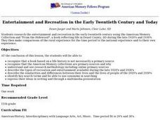 Entertainment and Recreation in the Early Twentieth Century and Today Lesson Plan