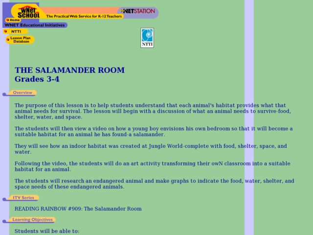 The Salamander Room Lesson Plan